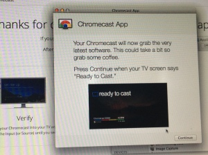 Screenshot of app explaining that the Chromecast is downloading updates