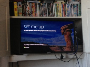 Chromecast set me up screen on the TV